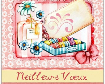 Best wishes greeting card handmade 15cm x 15cm