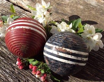 Vintage Croquet Balls, Vintage Wood Balls, Croquet Ball, Decorative Wood Ball, Home Decor, Red Wood Ball, Black Wood Ball