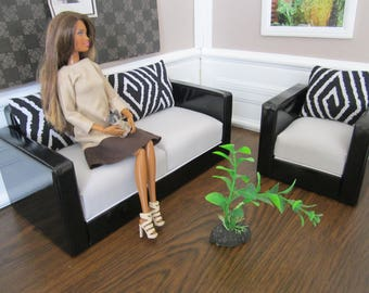 Designer Quality Black\White Leather BARBIE Set of 2. The best and beautiful gift for your Doll !!!