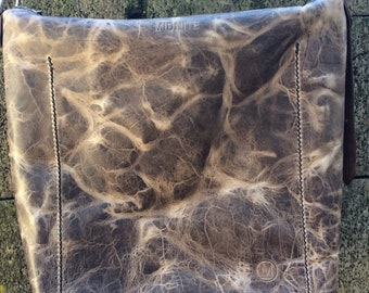Hand stitched Horween leather zippered crossbody purse