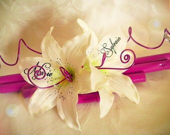 Ring bearer bamboo fuchsia and white lily like to customize