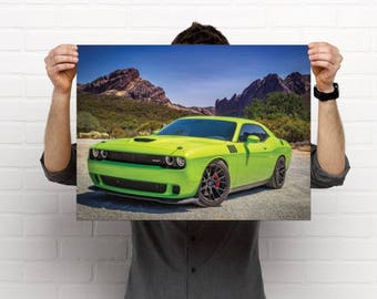 """Green Muscle Car """"Zilla"""" Poster"""