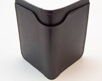 Black Horween Leather Wallet, Minimal Wallet, Front Pocket Wallet, Slim Wallet,  Bill Fold Wallet