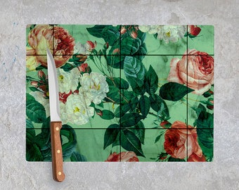 Floral and Marble Chopping Board