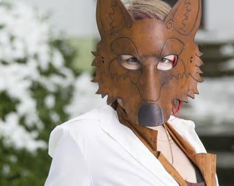 Leather Wolf Mask in Brown Leather