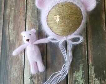 Newborn Pink Angora Bonnet and Bear Set RTS