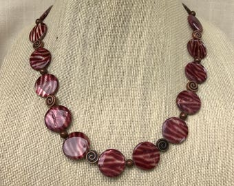 Stripe Shell and Copper Necklace