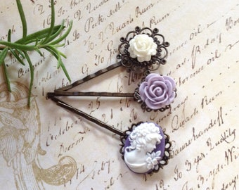 Cameo And Flower Hair Clips