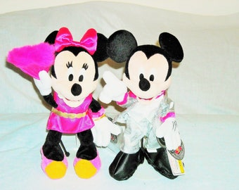 "SALE 19.99!Disney Mickey and Minnie ""Super Dancin Mania"" Available Japan Disney Only! Beanbag Plush Retired/Super Cute Disco Outfits."