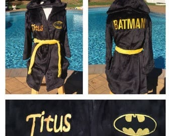 Boys Size 4-8 BATMAN Robe - Personalized Monogrammed