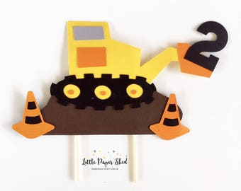 Handmade Cake Topper - Construction Digger Theme