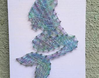 Mermaid String Art Wood Sign, Wall Art, Home Decor, Beach Decor, Ocean Decor