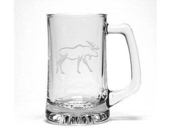 Moose Beer Mug / #2 / Free Personalization /  Wildlife Etched Beer Mug / Etched Beer Glass / Personalized Glass / Personalized Gift