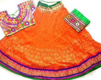 Navratri chaniya choli Orange colour with embroidery work Lehenga Choli by Indian Designer.