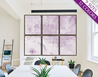 "Phoenix map, Map of Phoenix AZ, 12 colors, 9 sizes up to 90x72"" Extra Large Phoenix art map in 1 piece or 6 parts - Limited Edition of 100"