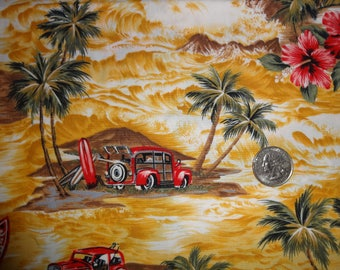 "Hawaiian Surfboard Woody Palm Trees Printex Cotton Quilting Fabric 1 yd + 16"""