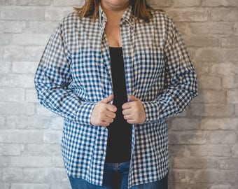 Large blue and white plaid checkered button up