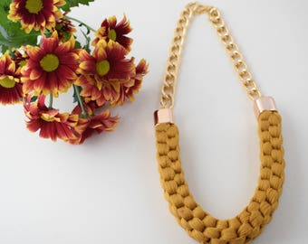 Mother, Mothers Day Gift, Gift, Gift For Woman, Yellow Necklace, Knitted Necklace, Statement Necklace, Mustard Necklace, Woven Jewellery