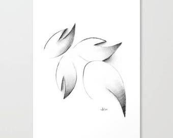 Cherry Blossom Petals, Art Print, Graphite, Pencil, Drawing, Black and White, Minimalist, Abstract, Decor, Art, Print