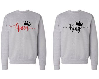 King and Queen Matching Couple Sweatshirts~Sweaters 2 for 1 Price. Valentine's Day Disney Crewneck Sweatshirts~ his and hers