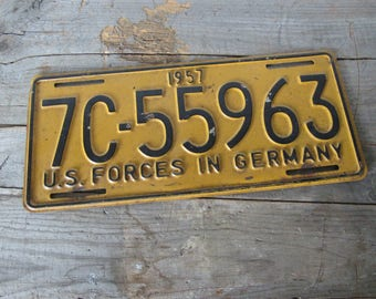1957 U.S. Forces in Germany License Plate - Original 1957 License Plate - Piece of History - U.S. Forces in Germany