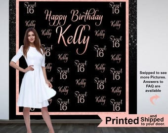 Sweet 16 Photo Backdrops, 16th Birthday Party Backdrop, Personalized Phot Backdrops, Black and Rose Custom Backdrop, Printed Vinyl Backdrop