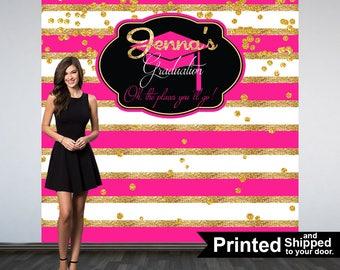 Graduation Photo Backdrop, Personalized Photo Backdrop- Printed Class of 2018 Photo Backdrop- Pink and Gold Stripes Photo Backdrop