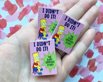 I Didn't Do It - The Bart Simpson Story miniature book brooch - Fictional book from The Simpsons