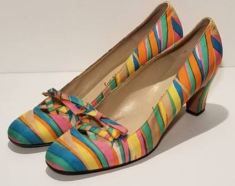 Saks 5th Ave Rainbow Heels 37.5B