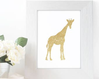 "Gold Glitter design Giraffe,  5x7"" 8x10"" incld., DIGITAL PRINTABLE File, Gold Sparkle Design Silhouette, Zoo Giraffe Nursery Decor"