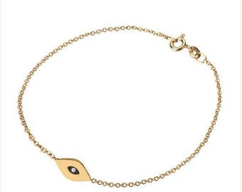 ON SALE 14k gold evil eye bracelet, 14k solid gold