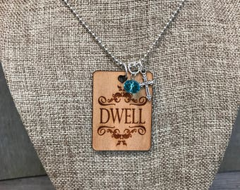 Dwell Necklace, Group Gift Ideas, Group Discounts, Inspirational Gifts, Laser Engraved, Customized Jewelry, Bursting Barns Laser Engraving