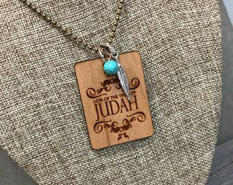 Lion of Judah Quote Necklace, Faith Based Jewelry, Group Gift Ideas, Handcrafted Jewelry, Engraved Necklace
