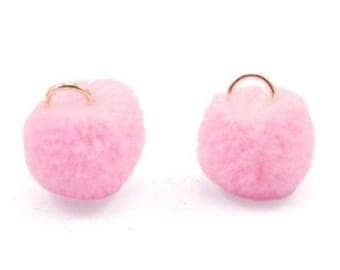 Pompom pendant, pom Poms, Pom Pons-5 PCs.-Ø 15 mm-Color selectable (colour: pink)