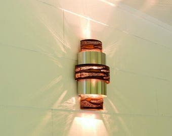 Burned Copper &  Stainless Contemporary Wall Sconce | Up and Down Wall Light | Unique • Artsy • Handcrafted in Austin, Texas USA