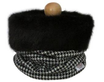 Harris Tweed Black Houndstooth Luxury Black Faux Fur Trimmed Cowl Neck Scarf