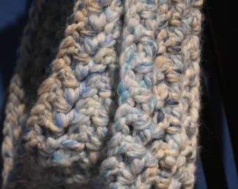 Icy Blue Crochet Infinity Scarf -- Cozy, Soft Blue & White Scarf