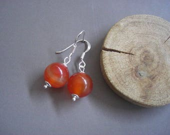 "Orange Agate and ""Balls"" Sterling Silver earrings"