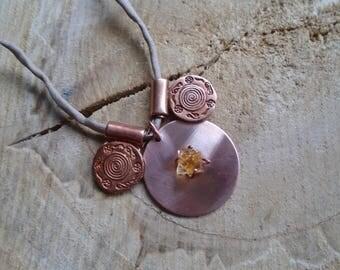 Necklace Citrine, copper and silk / / ethnic, boho, Tuareg / nature jewelry