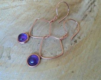 Amethyst on copper earrings / / Bohemian / / nature jewelry