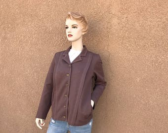 Early 1970's Brown Californiawear Jacket  ~ Button Down, Two Slit Pockets, Metal Buttons, Light Weight, And Well Made And Great Condition