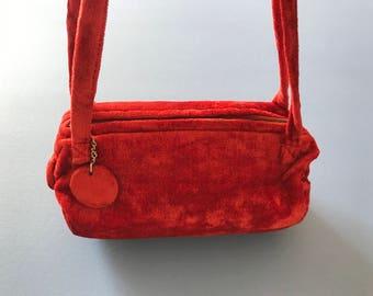 Vintage 1960's Velvet Purse ~  Shoulder Strap Handbag, Crimson Red, Old Brass Zipper, Say's Made In Japan, Excellent Condition ~ I Love It