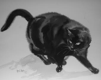 Playing black cat - Original watercolor painting