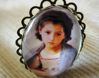 """Shabby chic """"boy with the shawl"""" ring"""
