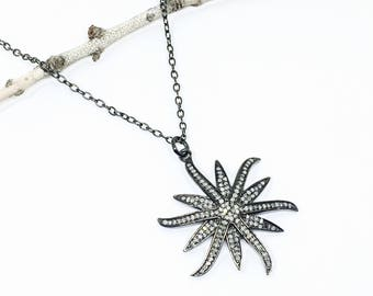 Pave diamond sunburst/ star pendant necklaces , charm set in sterling silver (92.5). 1.50 carats of diamonds.Genuine authentic diamonds.