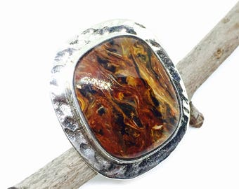 Pietersite ring set in sterling silver(92.5). Adjustable size. Natural authentic stone.