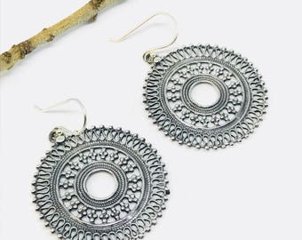 Ethnic, tribal, bohemian Sterling silver earring 92.5. Diameter -36mm. Weight-12gms for pair