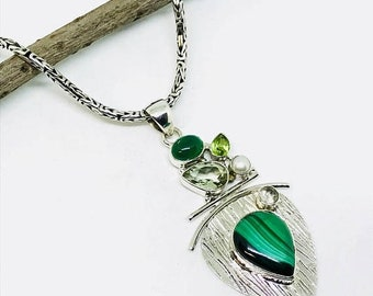 10% Malachite, peridot, green amethyst pendant, necklaces set in sterling silver(92.5). Natural authentic stones.