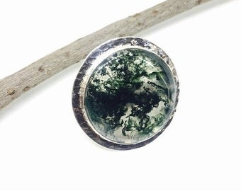 10% Moss agate ring set in sterling silver(92.5). Adjustable size. Natural authentic stone.
