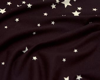 Double Brushed Poly Eggplant stars stretch knit fabric by the yard, purple star double brushed polyester fabric, star printed 4 way stretch